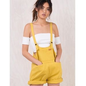 Princess Polly Mustard Short Overalls (M)